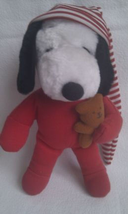 Adorable Rare Vintage 1968 My 1st Bedtime 'Christmas Snoopy' Plush Toy